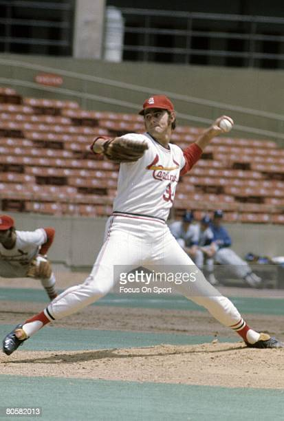 ST LOUIS MO CIRCA 1960's Pitcher Steve Carlton of the St Louis Cardinals pitches during a circa late 1960's Major League Baseball game at Busch...
