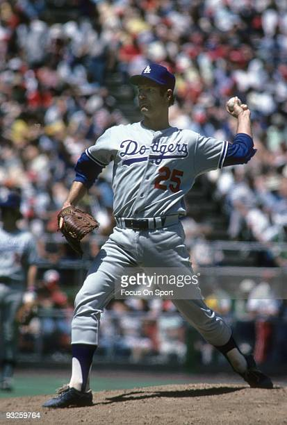 CIRCA 1970's Pitcher Tommy John of the Los Angeles Dodgers pitches during a circa 1970's Major League Baseball game John played for the Dodgers from...