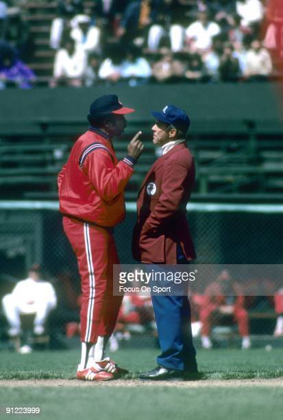 CLEVELAND OH CIRCA 1970's Player/Manager Frank Robinson of the Cleveland Indians arguing with a base umpire during a circa mid 1970's Major League...