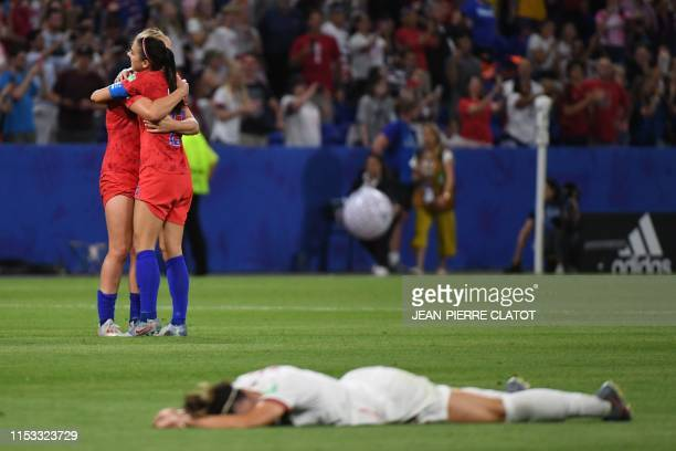 TOPSHOT USA's players celebrate after winning the France 2019 Women's World Cup semifinal football match between England and USA on July 2 at the...
