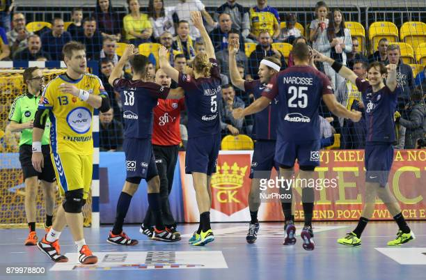 PSG's players celebrate the victory during EHF Handball Champions League Group B match between KS Vive Tauron Kielce and Paris SaintGermain Handball...