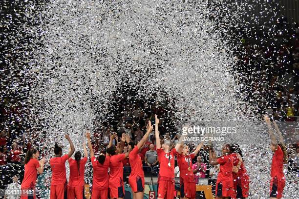 S players celebrate winning the FIBA 2018 Women's Basketball World Cup final match between Australia and United States at the Santiago Martin arena...