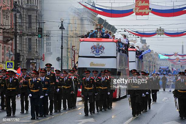 S players ride on a bus during an event honouring HC SKA's victory in the 2014/15 Season Kontinental Hockey League in Saint-Petersburg, Russia. May,...