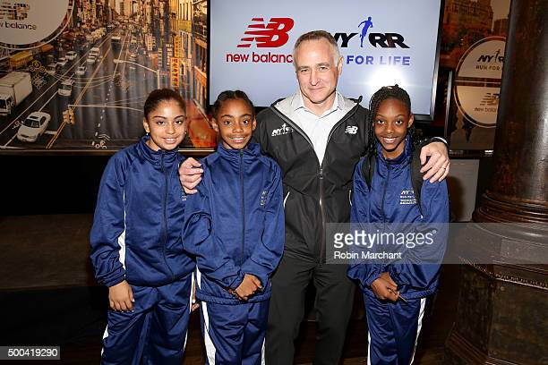S President and CEO Michael Capiraso poses with Mighty Milers during New Balance and New York Road Runners Announce Alliance during Press Conference...