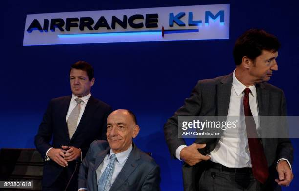 KLM's President and CEO Pieter Elbers Air FranceKLM's Chairman and CEO JeanMarc Janaillac and Air France's CEO Franck Terner attend a press...