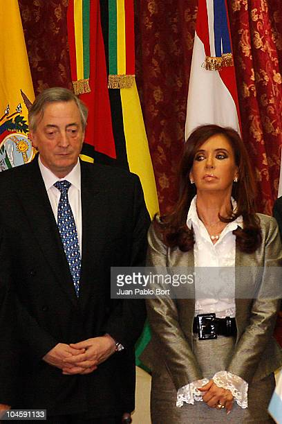 UNASUR's President Nestor Kirchner and Argentina's President Christina Kirchner during the extraordinary meeting of UNASUR in support of Ecuador's...
