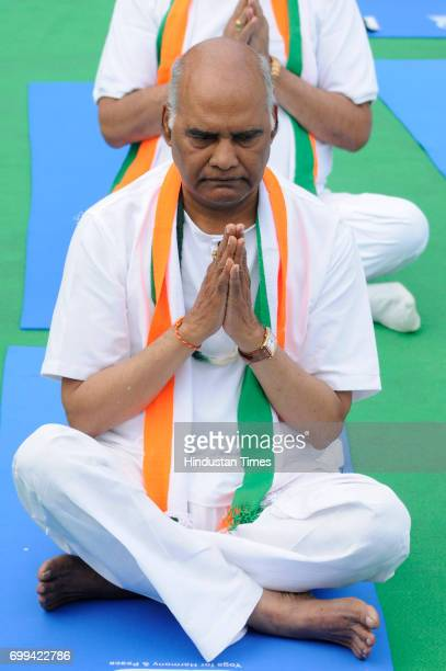 S Presidential candidate Ram Nath Kovind during the International Day of Yoga celebrations at Connaught Place, on June 21, 2017 in New Delhi, India.