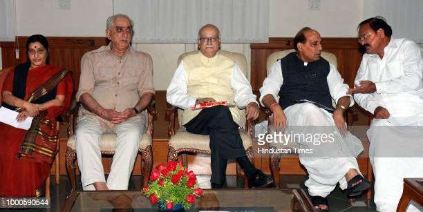 BJP's Prime Ministerial candidate L K Advani President Rajnath Singh along with senior leaders Jaswant Singh Shushma Swaraj and Venkaiah Naidu during...
