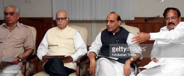 BJP's Prime Ministerial candidate L K Advani President Rajnath Singh along with senior leaders Jaswant Singh and Venkaiah Naidu during a party...