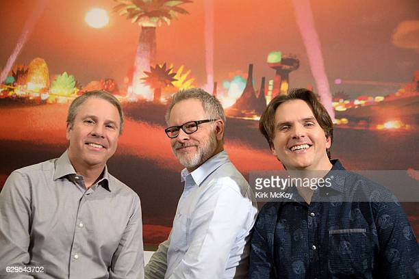 ZOOTOPIA's producer Clark Spencer and directors Rich Moore and Byron Howard are photographed for Los Angeles Times on November 3 2016 in Los Angeles...