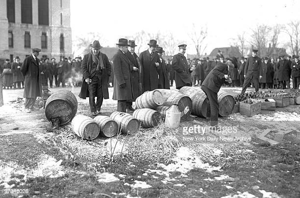 1920's Prohibition disposing of liquor