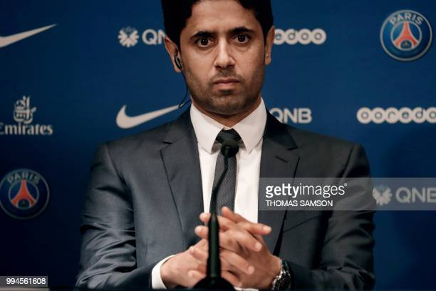 PSG's Qatari president Nasser AlKhelaifi attends a press conference on July 9 2018 at the Parc des Princes stadium in Paris after French Ligue 1...
