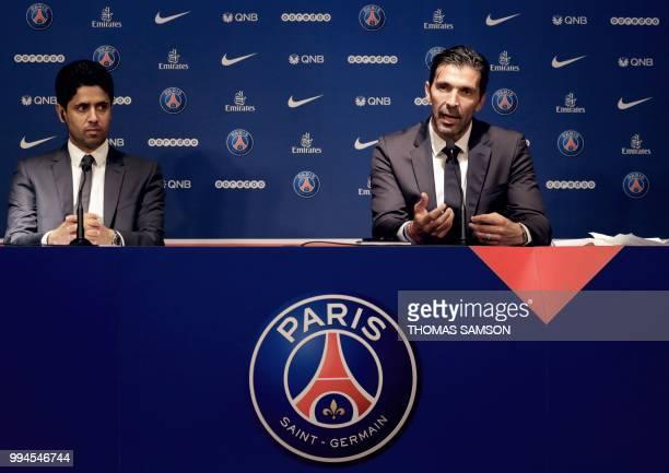 PSG's Qatari president Nasser AlKhelaifi listens as Italian goalkeeper Gianluigi Buffon speaks during a press conference on July 9 2018 at the Parc...