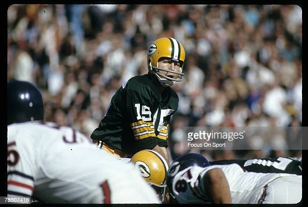 BAY WISCONSIN CIRCA 1960's Quarterback Bart Starr of the Green Bay Packers is under center against the Chicago Bears during a circa 1960's NFL game...