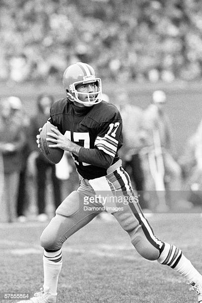 CLEVELAND OH 1980's Quarterback Brian Sipe of the Cleveland Browns drops back to pass during a game in the 1980's at Municipal Stadium in Cleveland...