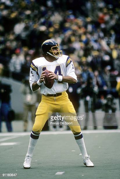 CIRCA 1980's Quarterback Dan Fouts of the San Diego Chargers is back to pass during an NFL football game circa mid 1980's Fouts played for the...