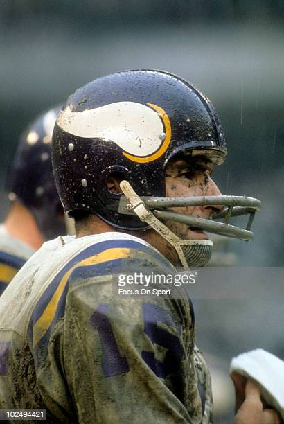CIRCA 1970's Quarterback Gary Cuozzo of the Minnesota Vikings watches the action from the sidelines circa early 1970's during an NFL football game...