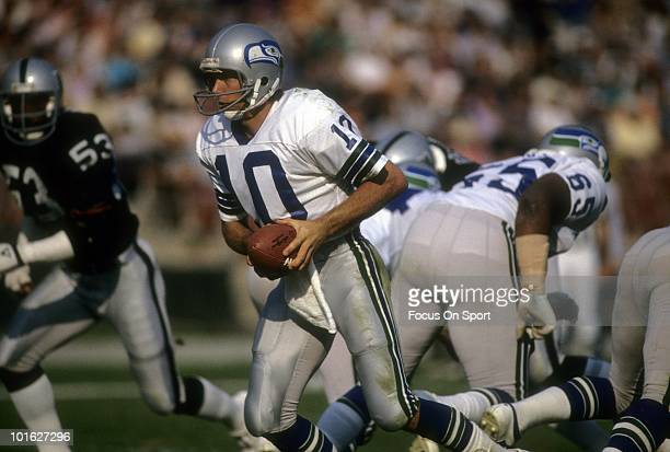 S: Quarterback Jim Zorn of the Seattle Seahawks in action against the Oakland Raiders circa late 1970's during an NFL football game at the Oakland...
