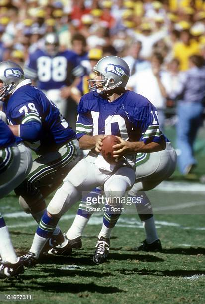 S: Quarterback Jim Zorn of the Seattle Seahawks in action drops back to pass against the San Diego Chargers circa late 1970's during an NFL football...