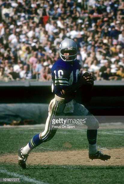 Quarterback Jim Zorn of the Seattle Seahawks in action rolls out to pass circa late 1970's during an NFL football game. Zorn played for the Seahawks...