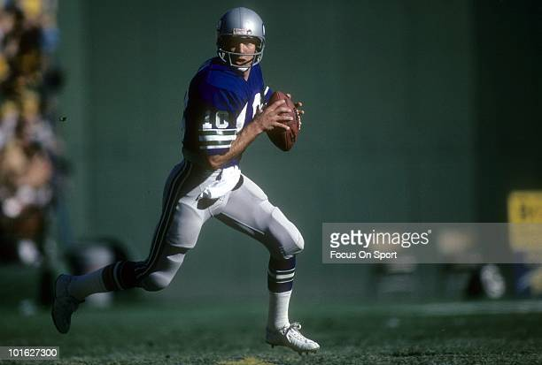 S: Quarterback Jim Zorn of the Seattle Seahawks in action rolls out to pass against the San Diego Chargers circa late 1970's during an NFL football...