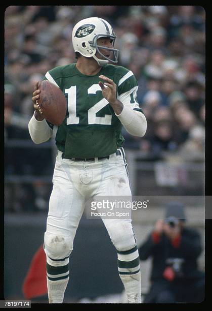 FLUSHING NY CIRCA 1970's Quarterback Joe Namath of the New York Jets drops back to pass during an early circa 1970's NFL football game at Shea...