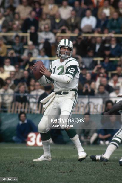 CIRCA 1970's Quarterback Joe Namath of the New York Jets drops back to pass during an early circa 1970's NFL football game Namath played for the Jets...