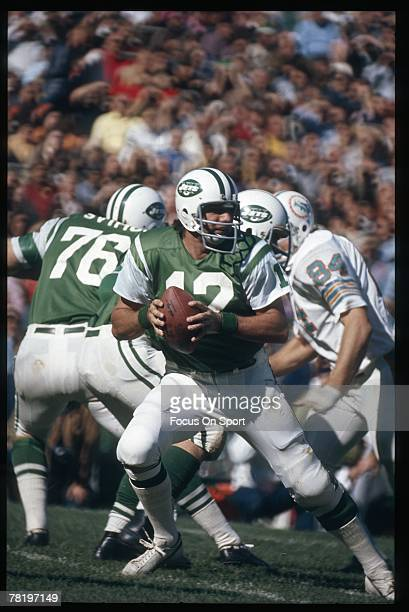 FLUSHING NY CIRCA 1970's Quarterback Joe Namath of the New York Jets drops back to pass against the Miami Dolphins during an early circa 1970's NFL...
