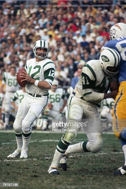 SAN DIEGO CA CIRCA 1970's Quarterback Joe Namath of the New York Jets drops back to pass against the San Diego Chargers during an early circa 1970's...
