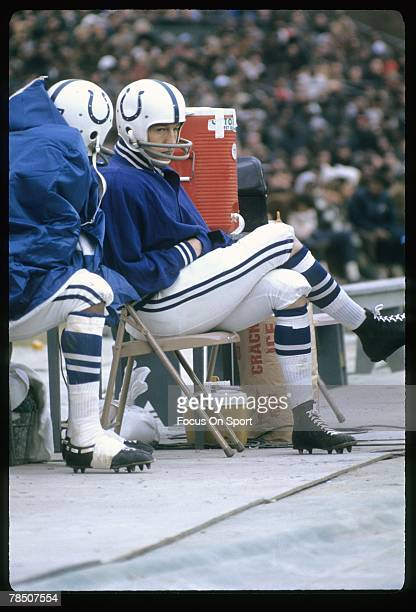 BALTIMORE MD CIRCA 1960's Quarterback Johnny Unitas of the Baltimore Colts sits on the bench during a late circa 1960's NFL football game at Memorial...