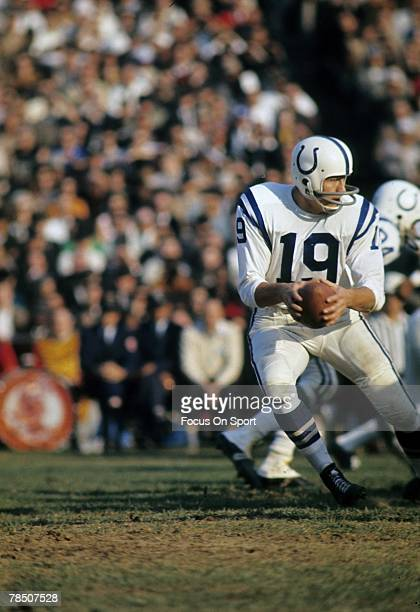 S: Quarterback Jonny Unitas of the Baltimore Colts drops back to pass against the Minnesota Viking during a late circa 1960's NFL football game....