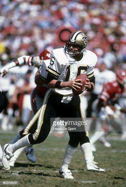 ATLANTA GA CIRCA 1980's Quarterback Ken Stabler of the New Orleans Saints drops back to pass against the Atlanta Falcons during a mid circa 1980s NFL...