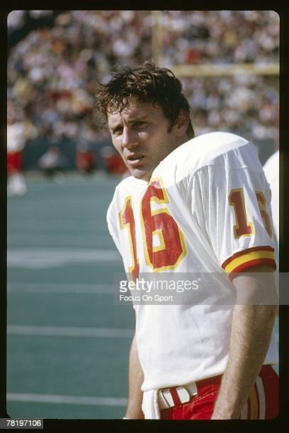 CIRCA 1970's Quarterback Len Dawson of the Kansas City Chiefs on the sidelines during a mid circa 1970's NFL football game Dawson played for the...