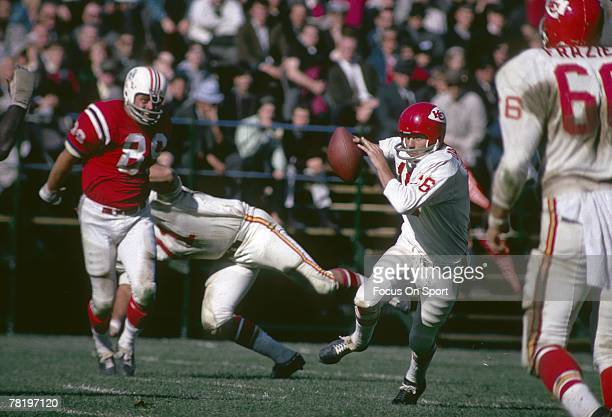 BOSTON MA CIRCA 1960's Quarterback Len Dawson of the Kansas City Chiefs scrambles against the Boston Patriots during a circa 1960's NFL football game...