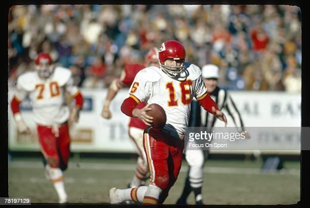 ATLANTA GA CIRCA 1970's Quarterback Len Dawson of the Kansas City Chiefs scrambles against the Atlanta Falcons during an early circa 1970's NFL...