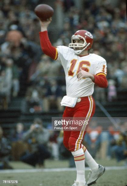 CIRCA 1970's Quarterback Len Dawson of the Kansas City Chiefs sets to throw a pass during an early circa 1970's NFL football game Dawson played for...