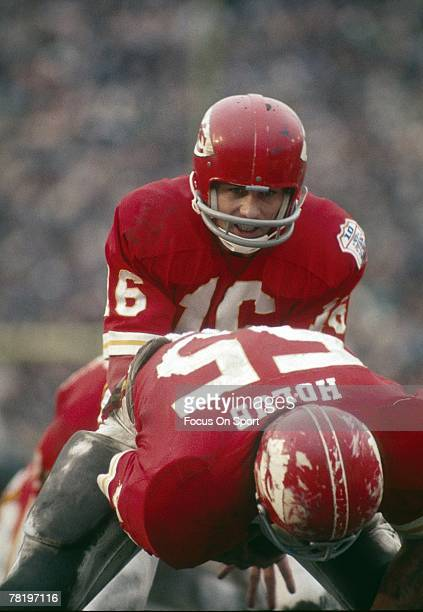 CIRCA 1970's Quarterback Len Dawson of the Kansas City Chiefs under center during a early circa 1970's NFL football game Dawson played for the Chiefs...