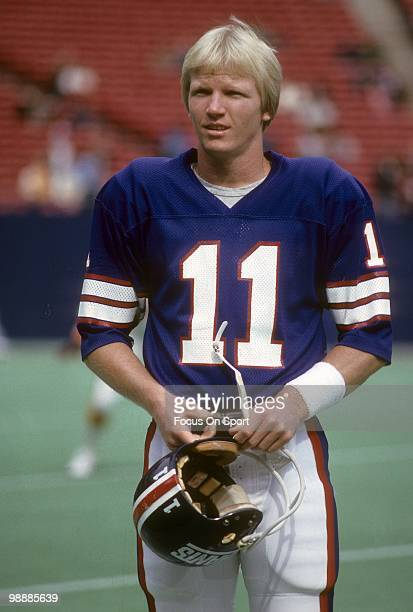 RUTHERFORD NJ CIRCA 1980's Quarterback Phil Simms of the New York Giants in this portrait circa early 1980's before an NFL football game at Giant...