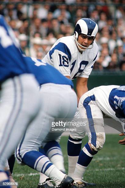 Quarterback Roman Gabriel of the Los Angeles Rams calls out the signals during a game in late1960's against the Detroit Lions at Tiger Stadium in...