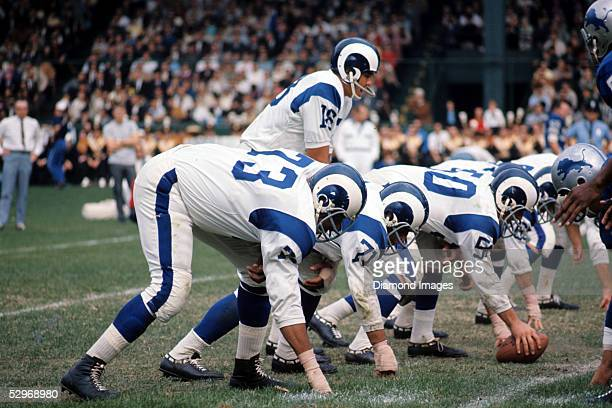 DETROIT 1960's Quarterback Roman Gabriel of the Los Angeles Rams calls out the signals at the line of scrimmage during a game in the late 1960's...