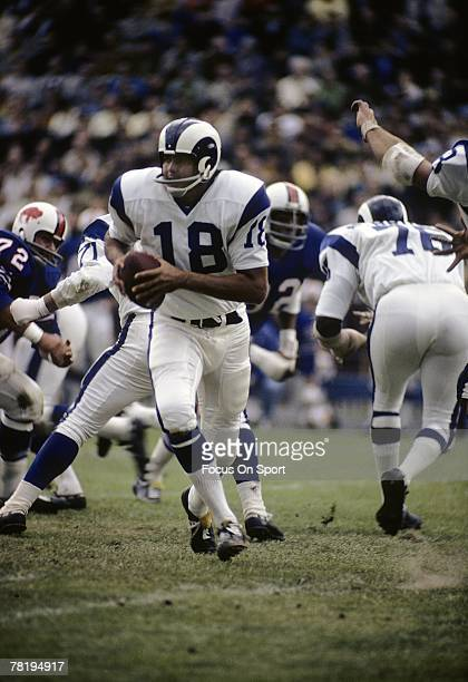 S: Quarterback Roman Gabriel of the Los Angeles Rams drops back to pass against the Buffalo Bills during an early circa 1970's NFL football game at...