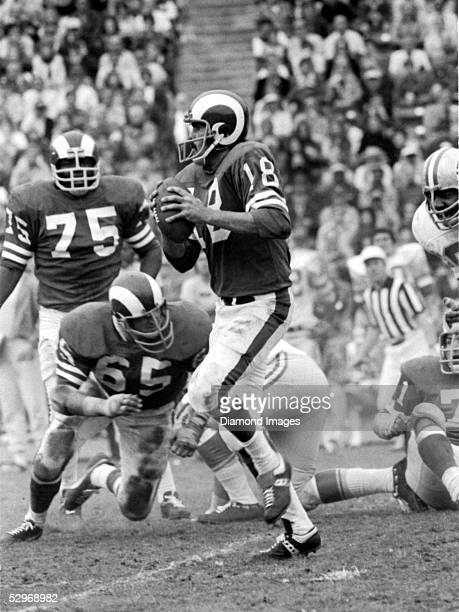 Quarterback Roman Gabriel of the Los Angeles Rams, scrambles as he sets up to throw a pass during a game in the late 1960's against the Detroit Lions.