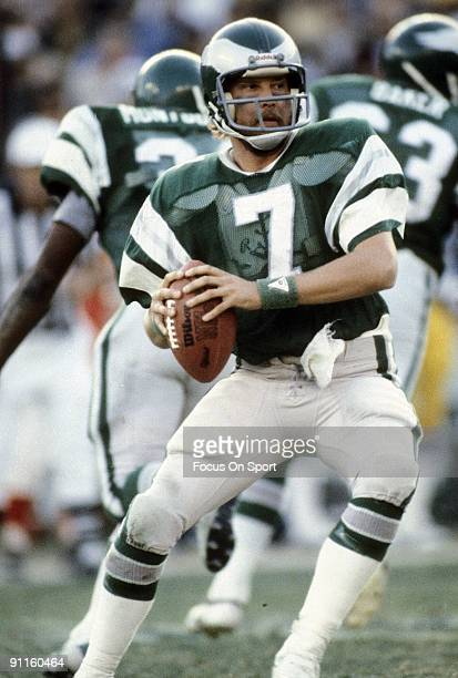S: Quarterback Ron Jaworski of the Philadelphia Eagles drops back to pass during a early circa 1980's NFL football game at Veterans Stadium in...