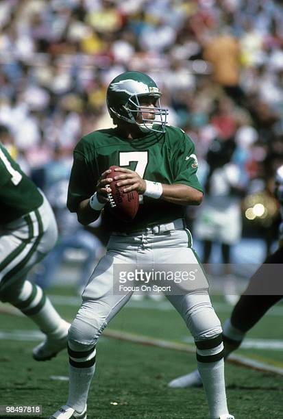 S: Quarterback Ron Jaworski of the Philadelphia Eagles drops back to throw a pass against the Washington Redskins circa mid 1980's during an NFL...