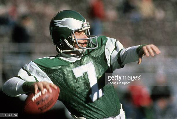 S: Quarterback Ron Jaworski of the Philadelphia Eagles sets up to throw a pass during a early circa 1980's NFL football game at Veterans Stadium in...
