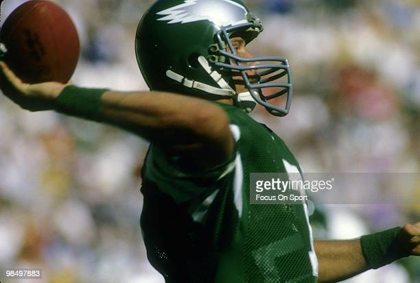 S: Quarterback Ron Jaworski of the Philadelphia Eagles throws a pass circa mid 1980's during an NFL football game at Veterans Stadium in...