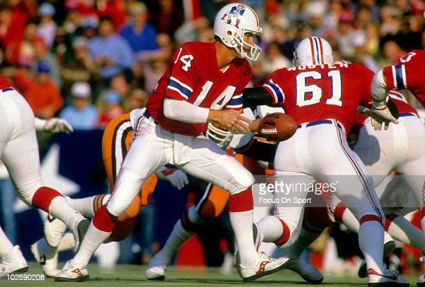 FOXBORO MA CIRCA 1980's Quarterback Steve Grogan of the New England Patriots in action against the Cleveland Browns circa early 1980's during an NFL...