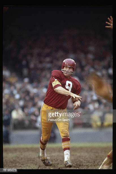 S: Quarterback Sunny Jurgenson of the Washington Redskins throws a pass, during a late circa 1960's NFL game at RFK Stadium in Washington, D.C....