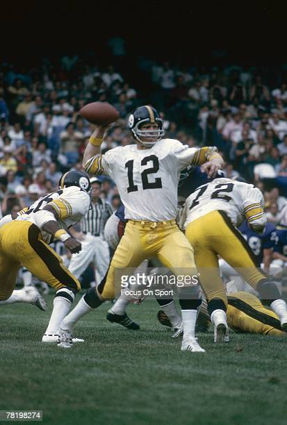 BALTIMORE MD CIRCA 1970's Quarterback Terry Bradshaw of the Pittsburgh Steelers is set to throw a pass against the Baltimore Colts during a mid circa...