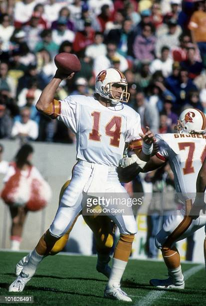 TAMPA FL CIRCA 1990's Quarterback Vinny Testaverde of the Tampa Bay Buccaneers drops back to pass circa early 1990 during an NFL football game at...